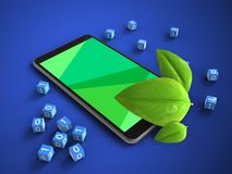 3d leaf. 3d illustration of mobile phone over blue background with binary cubes and leaf Royalty Free Stock Image