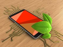 3d leaf. 3d illustration of mobile phone over wooden background with electronic circuit and leaf Stock Photo