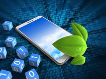 3d leaf. 3d illustration of white phone over digital background with binary cubes and leaf Royalty Free Stock Image