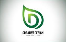 D Leaf Logo Letter Design with Green Leaf Outline Stock Photos
