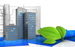 3d of leafs. 3d illustration of city buildings with drawings over white background Stock Photos