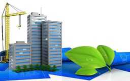 3d of leafs. 3d illustration of living quarter with crane over white background Stock Images