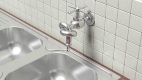 3D leaky water tap tied knot on wall Stock Image