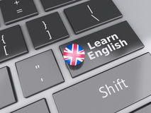 3d Learn English on computer keyboard. Education concept Royalty Free Stock Photography