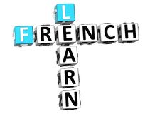 3D Learn French Crossword. On white background Royalty Free Stock Image
