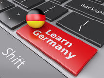3d Learn Germany on computer keyboard. Education concept Stock Image