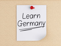 3d Learn Germany, word on post-it over cork. Royalty Free Stock Photos