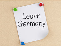 3d Learn Germany, word on post-it over cork. Royalty Free Stock Images