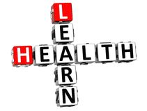 3D Learn Health Crossword on white background Royalty Free Stock Images
