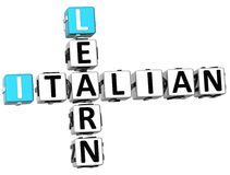 3D Learn Italian Crossword. On white background Royalty Free Stock Photo