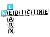 3D Learn Medicine Crossword. On white background Royalty Free Stock Image
