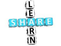 3D Learn Share Crossword. 3D blue Learn Share Crossword Royalty Free Stock Photo