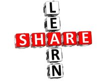 3D Learn Share Crossword. 3D red Learn Share Crossword Stock Photos