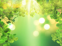 3D leaves on bokeh light background. 3D render of leaves on bokeh light background Stock Photo
