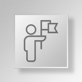 3D ledare Button Icon Concept Arkivfoton