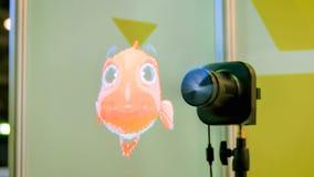 3D ledde holofanen som annonserar projektorn royaltyfri fotografi