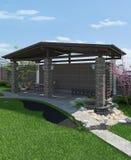 3D leefruimte van het regelingsterras, geeft terug Royalty-vrije Stock Fotografie