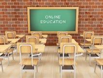 3d Leeg klaslokaal en bord met online onderwijs Royalty-vrije Stock Afbeelding