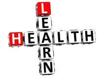 3D leer Gezondheidskruiswoordraadsel op witte achtergrond Royalty-vrije Stock Afbeeldingen