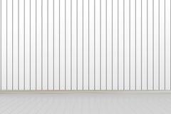 3d leeren Raum mit weißer Wand Stockfotografie