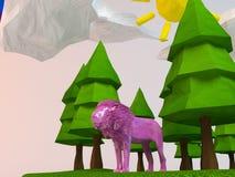 3d leeuw binnen een laag-poly groene scène Stock Afbeeldingen