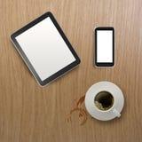 3d lege tablet met mobiele telefoon Royalty-vrije Stock Foto's