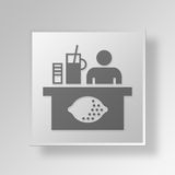 3D lemonade stand Button Icon Concept Royalty Free Stock Photography