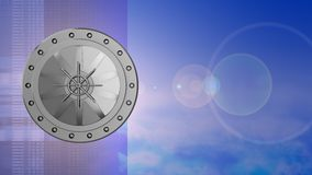 3d lens flare. Abstract 3d sky background with vault door and lens flare Royalty Free Stock Images