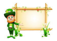 3d Leprechaun stands with big sign for st. patricks Stock Photos