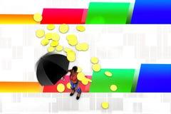 3d les femmes pièce d'or de parapluie et pleuvoir l'illustration Photos libres de droits