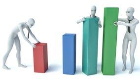 3d les gens - groupe de personnes mettant des statistiques de blocs Images stock