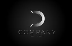 D black white silver letter logo design icon alphabet 3d Stock Images