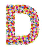 D,  letter of the alphabet in different flowers Royalty Free Stock Images
