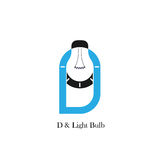 D-letter/alphabet icon and light bulb abstract logo design. Vector template.Corporate business and industrial logotype idea concept.Vector illustration Stock Photo