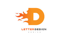 D Letter Flame Logo Design. Fire Logo Lettering Concept. Stock Photography