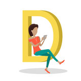 D Letter and Girl Watching Movie on Tablet. D letter and girl sitting and watching movie on tablet. Social network. Alphabet with cartoon pictures of people vector illustration