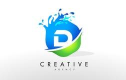 D Letter Logo. Blue Green Splash Design Vector Stock Images