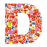 D Letter made of giftboxes Stock Photo