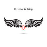 D-letter sign and angel wings.Monogram wing logo mockup.Classic Royalty Free Stock Images
