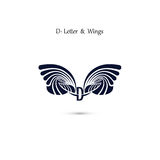D-letter sign and angel wings.Monogram wing vector logo template Royalty Free Stock Images