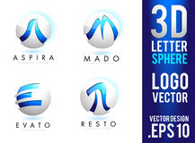 3D Letter Sphere Logo Design Vector Royalty Free Stock Photo