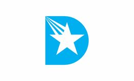 D letter star logo. A logo that consists of the light blue letter D with a falling star in it Royalty Free Stock Photography