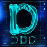 D Letter Vector. Capital Digit. Roentgen X-ray Font Light Sign. Medical Radiology Neon Scan Effect. Alphabet. 3D Blue. Light Digit With Bone. Medical, Hospital vector illustration
