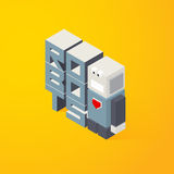 3D Lettering robots. Vector illustration in isometric style Stock Photos