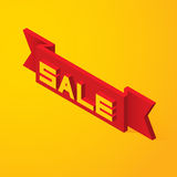3D Lettering sale on the ribbon Stock Photos