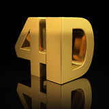 4D letters. On black background with reflection Stock Photo