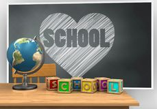 3d letters cubes. 3d illustration of blackboard with heart and school text and letters cubes Stock Images