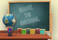 3d letters cubes. 3d illustration of board with back to school text and letters cubes Royalty Free Stock Photography