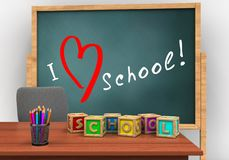 3d letters cubes. 3d illustration of board with love school text and letters cubes Stock Images