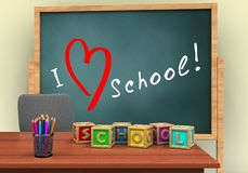 3d letters cubes. 3d illustration of board with love school text and letters cubes royalty free illustration